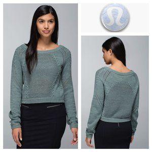 Lululemon Green Open Knit Be Present Pullover 8/10